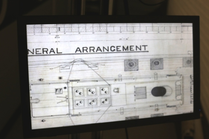 Close-up view of a digitised plan, on the touch-screen