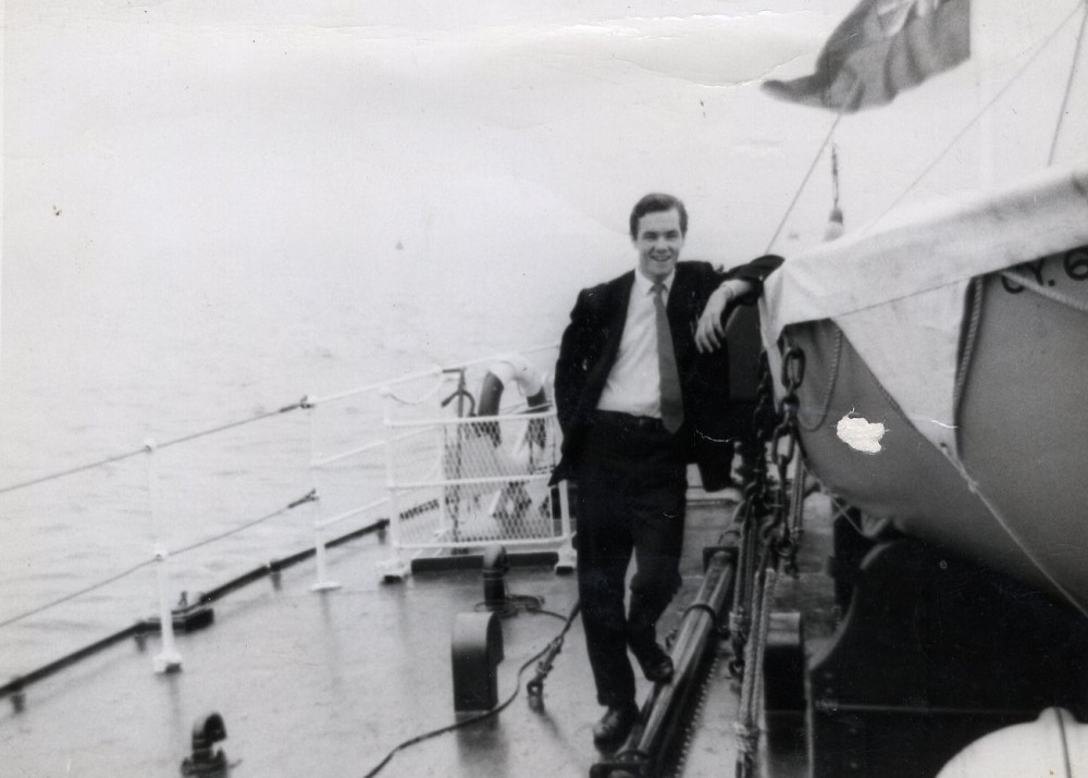 John Wilkinson onboard Arctic Corsair for its sea trials in 1960 (image courtesy of John Wilkinson)
